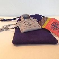 Nwt Tory Burch Tory Reva Tote Keyfob Handbag Charm Purse Light Gray Silver Ring Photo