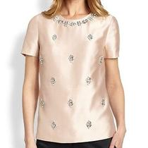 Nwt Tory Burch Vesper Bead-Embellished Woven Silk Top Blouse Blush Champagne 0 Photo