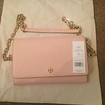 Nwt Tory Burch Wallet on Chain Leather Crossbody Pale Blush Photo