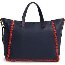 Nwt Tory Burch  Whipstitch Medium Tote - Navy Blue Photo