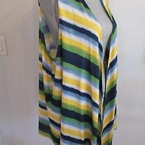 Nwt Travel Elements 2x Multi Color Striped Asymmetrical Vest Msrp 98.00 Photo