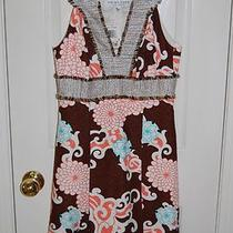 Nwt Trina Turk Flora Dress Brown Coral White Aqua Silverl/coffee 253530 Sz 0 Photo