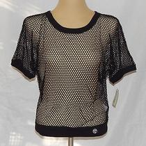 Nwt Trina Turk Recreation Black Doman Sleeve Mesh Scoop Neck Cover-Up Blouse  M Photo