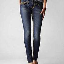 Nwt True Religion Big T Super T Mica Signature Gold Skinny Jean Low Rise 24  Photo