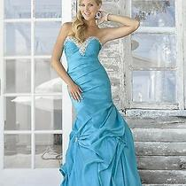 Nwt Turquoise Blue Blush Prom 9378 Size 6 Taffeta Fit N Flair Jeweled Prom Photo