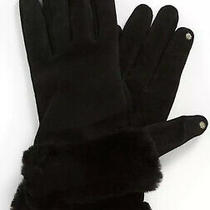 Nwt Ugg Australia Black Suede Shorty Tech Gloves Shearling Cuff Black Small S Photo