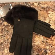 Nwt Ugg Australia Womens Brown Suede Shorty Gloves Photo