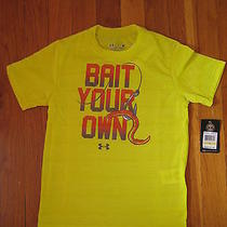 Nwt Under Armour Bait Your Own T Shirt 4 Yellow Fishing Fish Ua Heatgear 4t New Photo