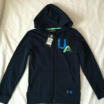Nwt Under Armour Full Zip Jacket Hoodie Loose Fit Yxl Youth Size Xl  Navy Blue Photo