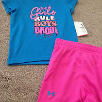 Nwt Under Armour Girls Baby & Toddler Outfits Sets 3/6 24 Months Blue White  Photo