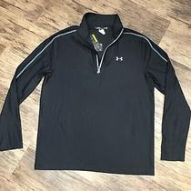 Nwt Under Armour Size L 1/2 Zip Mock Neck Fitted Long Sleeve Pullover Mens Black Photo