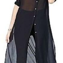 Nwt Urban Outfitters Bdg Black Extreme Length Button Down Shirt  - Small Maxi Photo