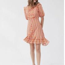 Nwt Urban Outfitters Wrighton Ruffle Mini Dress High Neck Orange Size Small Photo