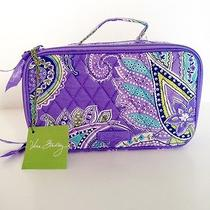 Nwt Vera Bradley Blush and Brush Makeup Case in Lavender Paisley Photo