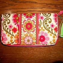 Nwt Vera Bradley Colorful Pink Orange Floral Accordion Zip Walletfolkloric8x5 Photo