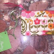 Nwt Vera Bradley Id Case Holder Card Zip Pocket Coin Purse Key Ring Pink Floral Photo