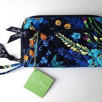 Nwt Vera Bradley Midnight Blues Zip-Around Wallet With Wrist Strap Photo