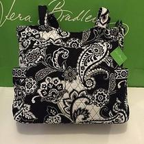 Nwt Vera Bradley Pleated Tote Shoulder / Hand Bag in Midnight Paisley Photo