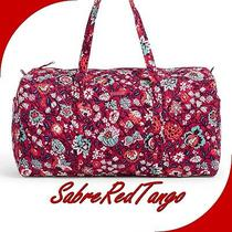 Nwt Vera Bradley Quilted Large Traveler Duffel Gym Bag Floral Bloom Berry Photo