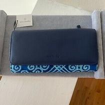 Nwt Vera Bradley Rfid Audrey Wallet Navy Blue Faux Leather Print 4 X 8 Photo