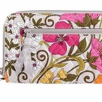 Nwt Vera Bradley Zip Around Wallet Tea Garden Billfold Clutch Retired Design Photo