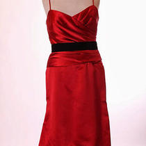 Nwt Vera Wang Maids   Red Black Velvet Sash Side Zip Lined Dress 10 M Photo