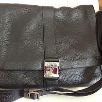Nwtversace Collection Black Pebbled Leather Messenger Shoulder Bag V920114 Photo