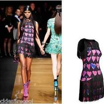 Nwt Versace for h&m Fringe Signature Print Heart Mini Dress 2 Us 32 Eu Xs 0 Xxs Photo
