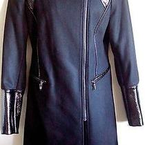 Nwt via Spiga Black Wool Coat With Lacquer Leather Trim Size 10 Photo
