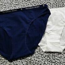 Nwt Victoria's Secret Bikini Cotton Panties 2 Pc Women Xl White & Navy Blue Photo