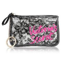 Nwt Victoria's Secret Clear Black Lace Mini Bag Zipper Closure Attached Key Ring Photo