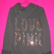 Nwt Victoria's Secret Pink Bling Hoodie Zip Sweatshirt Love Pink Large Photo