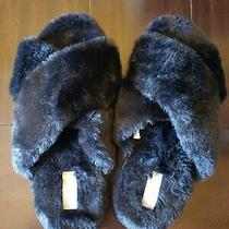 Nwt Victoria's Secret Pink Faux Fur Soft Furry Criss Cross Black Slippers Large Photo