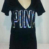 Nwt Victoria's Secret Pink Short Sleeve Bling Graphic Tee Shirt Size L Photo