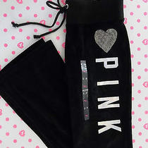 Nwt Victoria's Secret Pink Small Black Velour Long Pants Heart Rhinestone Bling Photo