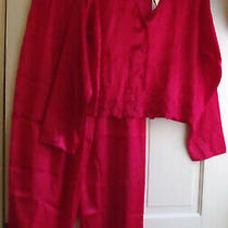 Nwt Victoria's Secret Red 2 Pc Satin Pajamas Size Small Photo