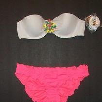 Nwt Victoria Secret Embellished Jeweled Bandeau Cheeky Bikini 34b S Photo