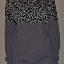 Nwt Victoria Secret Pink Leopard Pocket Varsity Crew Shirt Top Gray Leopard M Photo