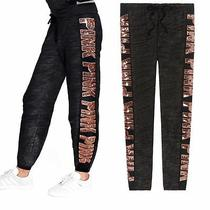 Nwt Victoria Secret Pink Rose Gold Bling Sequin Marled Black Classic Pants S New Photo