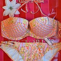 Nwt Victoria Secret Swim Set Bikini Halter Top Bandeau Orange Foil 34d Bottoms M Photo