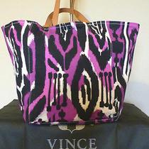 Nwt Vince Camuto Black Purple  Printed Canvas  Charmed Shoulder Tote Bag   Photo