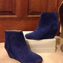 Nwt -Vince Camuto Blue Suede Ankle Boots 6-Nice Photo