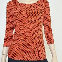 Nwt Vince Camuto Draped Ruched Star Print Blouse Tunic Top Dress Shirt Orange S Photo