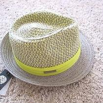 Nwt Vince Camuto Gray & Lime Yellow Patterned Straw Fedora Hat One Size New Photo