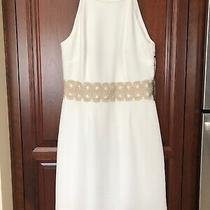 Nwt Vince Camuto Ivy Dress White With Gold Applique Waist Size 10 Photo