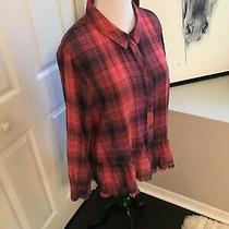 Nwt Vince Camuto Rouge-Blush Plaid Button Front Casual Top Shirt Blouse Xl Photo