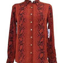 Nwt Vince Camuto Snakeskin Print Blouse Size Xs Orange Black Top Long Sleeves Photo