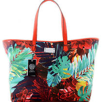 Nwt Vince Camuto Vivi Large Tropical Print & Spicy Orange Summer Organizer Tote Photo