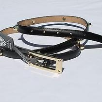 Nwt Vince Camuto Woman Synthetic Leather Belt Size Medium Black Xl Photo