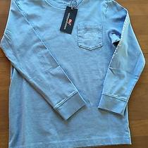 Nwt Vineyard Vines Boys Long Sleeve Whale Pocket T Shirt Blue Size 8-10 Small Photo